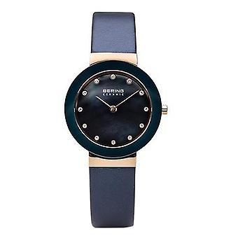 Bering ladies slim ceramic - 11429-667 leather wristwatch watch