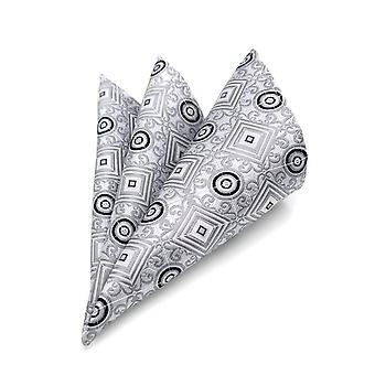 Silver & grey geo pattern designer look pocket square