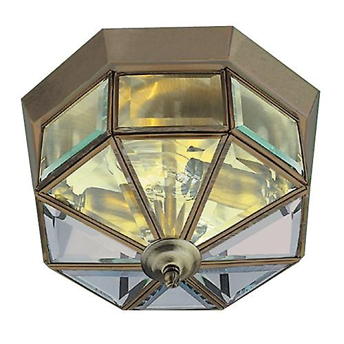 Searchlight 8235AB Flush Traditional Antique Brass Ceiling Light With Clear Glass