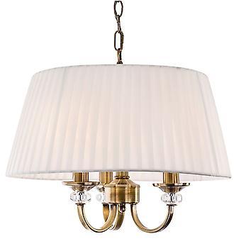 Firstlight - 3 Light Ceiling Pendant Antique Brass, Pleated Cream Shades - 4865AB