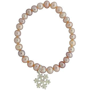 Jo For Girls Pink Freshwater Pearl & Crystal AB Snow Flake Charm Bracelet 5