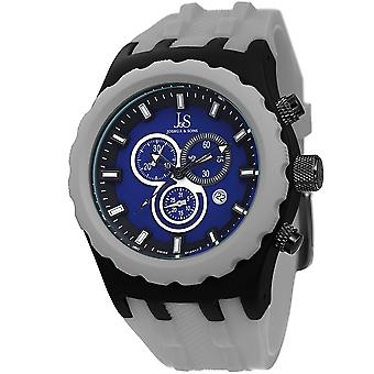 Joshua & Sons Men's JS59GY Gray Multifunction Swiss Quartz Watch With Blue Dial and Gray Silicone Strap