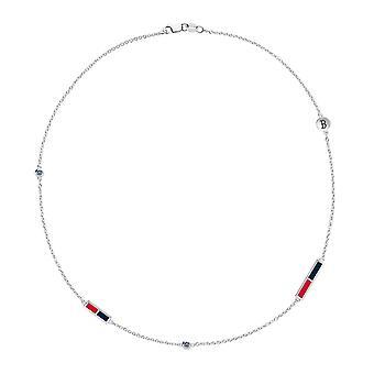 Boston Red Sox Red Sox logo indgraveret hvid safir 5-Station halskæde i rød og mørkeblå