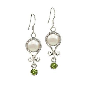 Eternal Collection August Peridot And Pearl Sterling Silver Birthstone Drop Pierced Earrings