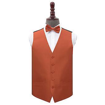 Rust Shantung Wedding Waistcoat & Bow Tie Set