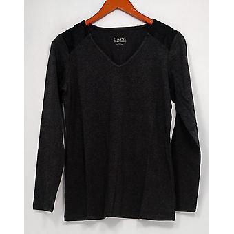 Denim & Co. Women's Top (XXS) Knit Tunic w/ Faux Leather Gray A256310