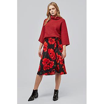 Indie Poppy Wrap Midi Skirt Red