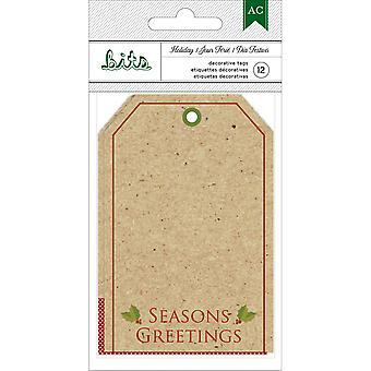 American Crafts vacances Tags Kraft/Pkg-12 W/feuille d'or 340085