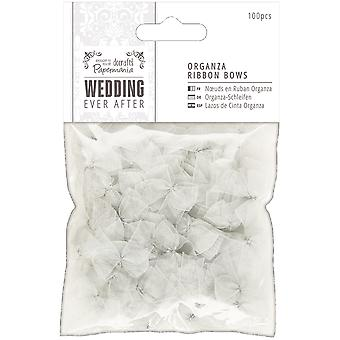 Papermania Ever After Wedding Ribbon Bows 27mm 100/Pkg-Silver Organza PM158560