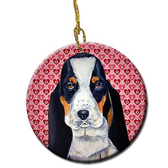 Basset Hound Valentine's Love and Hearts Ceramic Ornament