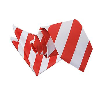 Men's Striped Red & White Tie 2 pc. Set