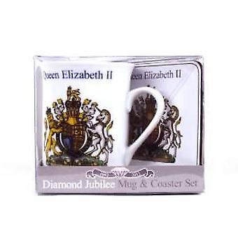 Diamanten jubileum mok & Coaster instellen wapenschild 300g