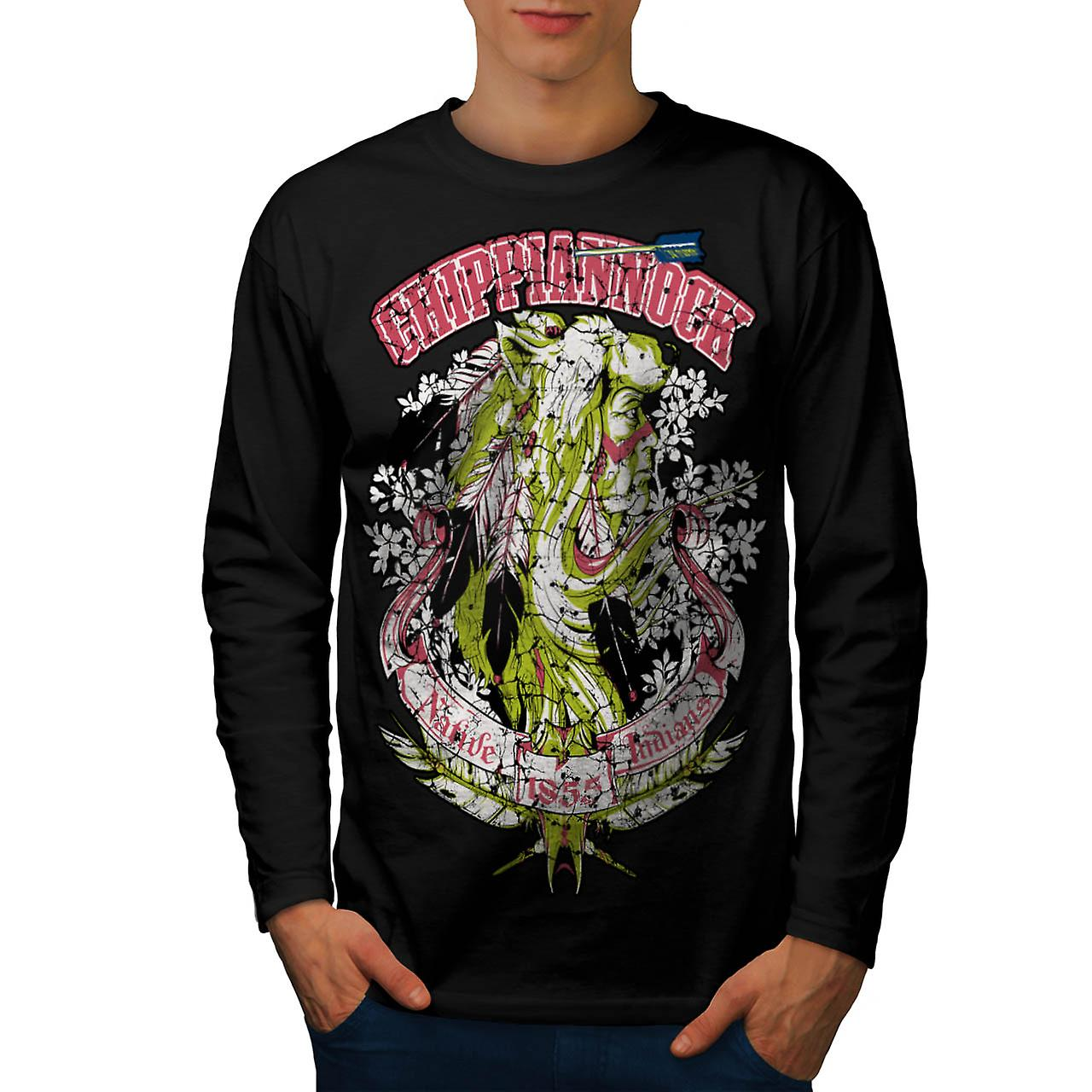 Chippianock Cemetery Burial Land Men Black Long Sleeve T-shirt | Wellcoda