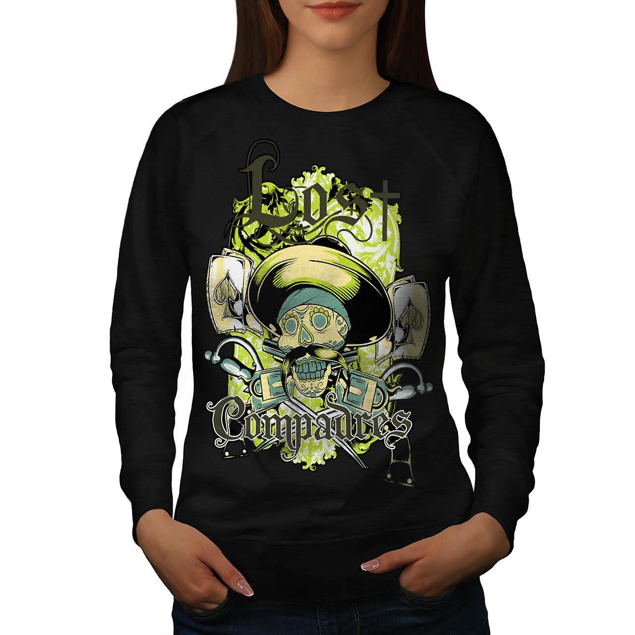 Lost Compadres Cool Skull Women Black Sweatshirt | Wellcoda