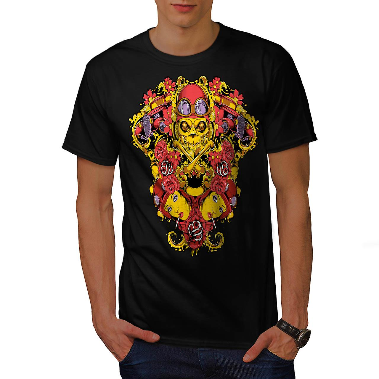 Skeleton Pilot Horror Air Plane Men Black T-shirt | Wellcoda