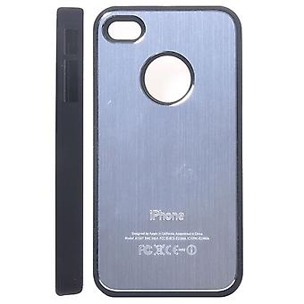 Il metallo spazzolato copertura in alluminio e in plastica rigida iPhone 4/4S (argento)