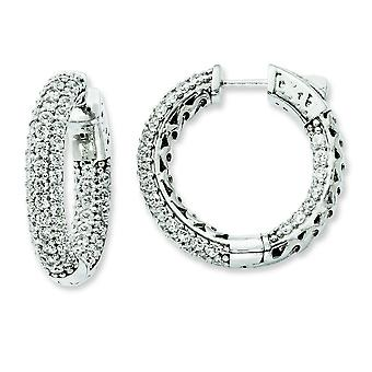 Sterling Silver Polished Hinged hoop Safety clasp Rhodium-plated Rhodium Plated Cubic Zirconia In and Out Pave Hoop Earr