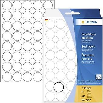 Herma 2257 Labels (hand writable) Ø 19 mm Film Transparent 640 pc(s) Permanent Sealing labels