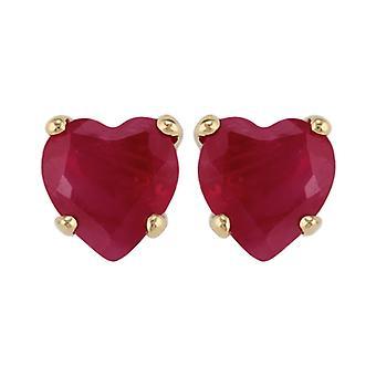 Gemondo 9ct Yellow Gold 0.52ct Ruby Single Stone Heart Stud Earrings 4x4mm