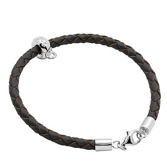 Burgmeister leather bracelet grey plaited, JHE1064-529 925 sterling silver rhodanized