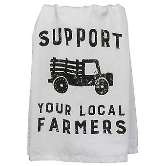 Support Your Local Farmers White with Black Printe Cotton Kitchen Dish Towel