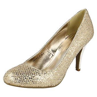 Ladies Spot On Formal Glitter Court Shoes