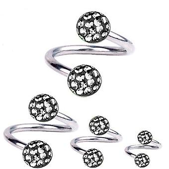 Skręt spirala Piercing tytanu 1,6 mm, Multi Crystal Ball Black Diamond | 8-12mm