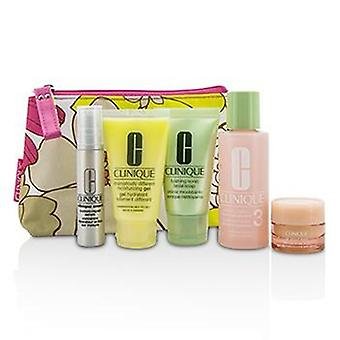 Clinique Travel Set: Facial Soap 30ml + Lotion 3 60ml + DDMG 30ml + Serum 10ml + All About Eyes 7ml + Bag - 5pcs+1bag