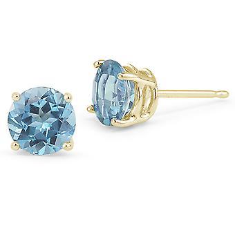 Blue Topaz Stud Earrings, 14K Yellow Gold