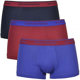 Emporio Armani Coloured Stretch Cotton 3-Pack Trunk, Marine/Red Currant/Ink, Small