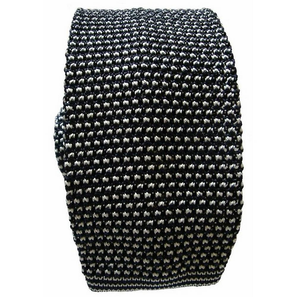 KJ Beckett Two Tone Knitted Tie - Black/White