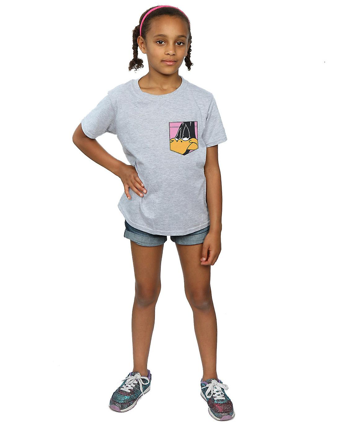 Looney Tunes Girls Daffy Duck Face Faux Pocket T-Shirt