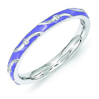 2.5mm Sterling Silver Polished Patterned Rhodium-plated Stackable Expressions Purple Enamel Ring - Ring Size: 5 to 10
