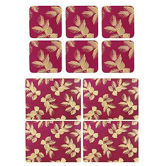 Sara Miller Etched Leaves Pink Placemats and Coasters Set