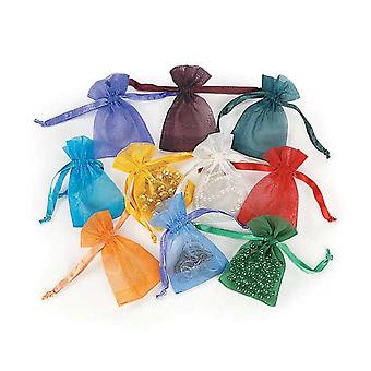 50 Assorted Mini Drawstring Organza Favour Gift Bags   Christmas Party Loot Bags