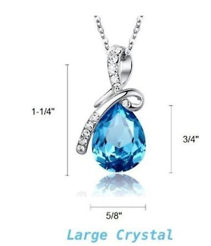 Boolavard Blue Eternal Love Crystal Water-drop Pendant Come with a Chain Necklace 19