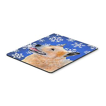 Australian Cattle Dog Winter Snowflakes Holiday Mouse Pad, Hot Pad or Trivet