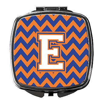Buchstabe E Chevron blau und Orange #3 Kompakt-Spiegel