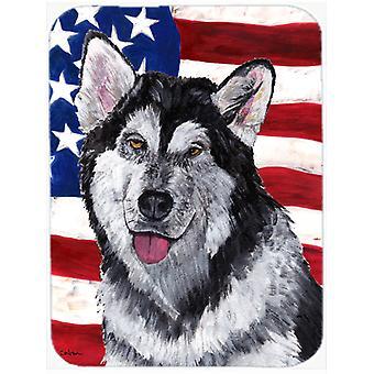 Akk Malamute USA patriotiske amerikanske flagget Glass kutte store størrelse