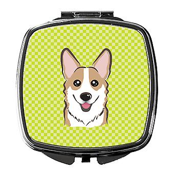 Carolines Treasures  BB1315SCM Checkerboard Lime Green Corgi Compact Mirror