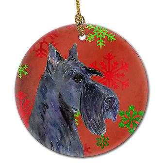 Scottish Terrier Red Snowflakes Holiday Christmas Ceramic Ornament SS4736