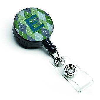 Monogram - eerste E blauwe Argoyle intrekbare Badge Reel