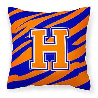 Monogramm anfängliche H Tiger Stripe - Blau Orange dekorative Canvas Stoff Kissen