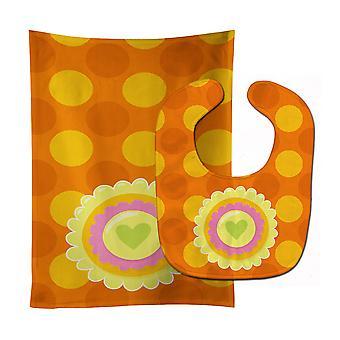 Carolines Treasures  BB9051STBU Heart Flower Orange Baby Bib & Burp Cloth