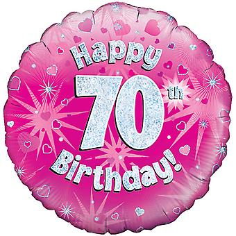 Oaktree 18 Inch Happy 70th Birthday Pink Holographic Balloon
