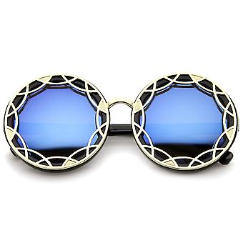 Women's Oversize Ornate Flat Pattern Color Mirror Lens Round Sunglasses 55mm