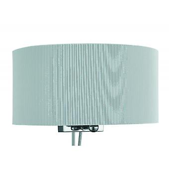 Drum Pleat Chrome Wall Light With Glass Diffuser And Grey Shade - Searchlight 3462-2si