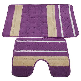 2 Piece Striped Bath Mat/Rug & Pedestal Mat Set