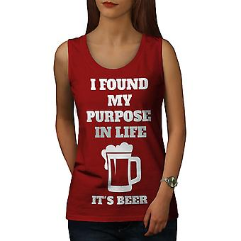 Purpose Life Beer Funny Women RedTank Top | Wellcoda