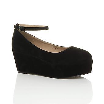 Ajvani dame midten af kile hæl ankel rem flatform platform domstol sko